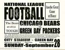Chicago Bear Green Bay Packers 1930 Game Broadside Poster NFL Football LS