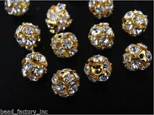 10pcs Gold With Rhinestone DIY Jewelry Pendant Crystal Spacer Beads 8mm Findings