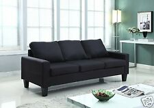 BLACK Fabric Upholstered Sofa Lounge Living Room Modern Couch Furniture NEW
