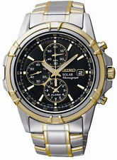 New Seiko Men's Solar Chronograph Black Dial Two Tone Watch SSC142