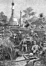 British forces fighting in Burma 1887   Poster Print