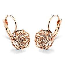Rose Gold Filled Clear Swarovski Crystal Lever Back Filigree Rose Earring IE19