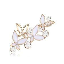 18K ROSE GOLD PLATED & GENUINE SWAROVSKI CRYSTAL WHITE ENAMEL BUTTERFLY BROOCH