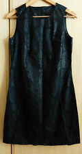 free P&P black leather laser cut perforated floral dress pencil shift size 10 12