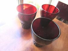 """Collectible Vintage Ruby Red Juice Tumblers, set of 3, 4"""" tall tumblers"""