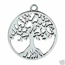 5 x Tibetan Silver Tree of Life Large Pendant Charms Antique Pagan Wicca