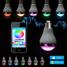 Bluetooth Control Music Audio Speaker LED RGB Color Bulb Light Lamp White