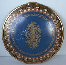 Vintage Brass Enamel Powder Compact Flower Volupte