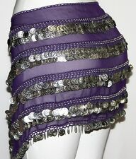 Purple XL professional Belly Dance Dancing hip scarf Belt coin REAL EGYPTIAN