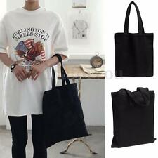 Women Handbag Plain Eco Shopping Shoulder Tote Shopper Bags Canvas Bag Black