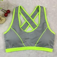 Women Lady Sports Yoga Athletic Solid Wrap Chest Strap Vest Tops Bra Gray