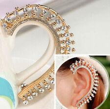 Fashion Punk Charm Full Rhinestone Golden Left Ear Stud Cuff Hook Earring 1PC