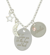 Moon Star & Back Personalised Necklace Jewellery Any Name Message Engraved Free