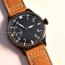 44mm Parnis Black dial PVD case manual winding 6497 Tan Leather mens Watch 082