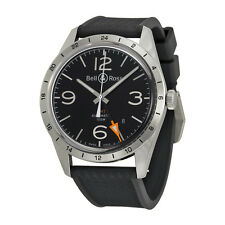 Bell and Ross Vintage Black Dial Black Rubber Mens Watch BRV123-BL-GMT-SRB