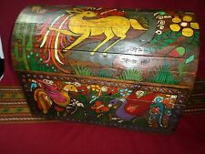 """Mexican Folk Art 18"""" Wood Dowry Chest Baul Box Colonial Furniture Painted Birds"""