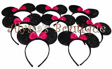 Minnie Mouse Ears Headbands 20 pc Shiny Black Pink Bow Birthday Party Costume