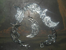 ANTIQUE SILVER TONE IRISH IRELAND CELTIC KNOT MOON+DRAGON BRACELET CHARM SET