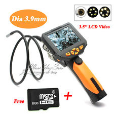 3.9mm Handheld HD Endoscope 3.5'' Video Camera 1M Cable Inspection Borescope +8G