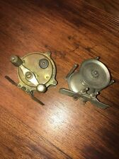 ANTIQUE PAIR OF BRASS Hendryx #80 Raised Pillars Fishing Reels PARTS OR RESTORE