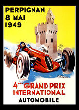 -A3 Size- Perpignan Grand Prix 1949 - Motor Car Racing Vintage Poster #09