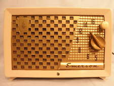 1954 Pink Emerson 729 Mid Century Modern Checkered Grille Tube AM Radio-Works-NR