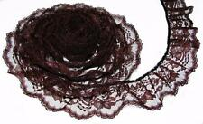 BROWN~3 Inch Wide Ruffled Floral Lace Trim~By 5 Yards