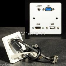 AV Wall Plate Single Gang, VGA Video / HDMI / 3.5mm Audio Jack / USB2 A Sockets