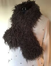 "NEW 42"" x 5"" Gray Pull-Through Faux Fur Scarf Tibetan Curly Lamb"