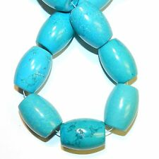 NG2674f Blue-Green Turquoise Huge 34x25mm Tapered Oval Barrel Magnesite Bead 15""