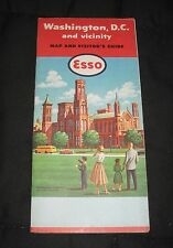 Vintage 1958 ESSO Standard Oil Washington D.C. and Vicinity Road Map & Guide