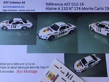 NEW DECAL1 43 RENAULT ALPINE A 110 N°174 Rally WRC monte carlo 1977 montecarlo