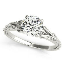 2.05 CT ROUND MOISSANITE FOREVER ONE & DIAMOND ANTIQUE ENGAGEMENT RING