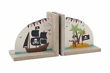 PIRATE DESIGN BOOKENDS CHILDRENS KIDS BEDROOM THEMED BOOKS STORAGE HOME DECOR