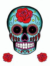 HUGE BLUE ROSE SUGAR SKULL Mexican Day of the Dead STICKER/Vinyl DECAL SET