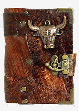 Bull Head Pendant Brown Leather Journal Notebook  Diary Sketchbook Handmade