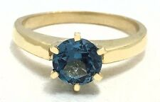 GENUINE 1.27 Carats BLUE ZIRCON RING 14k YELLOW GOLD* Free Shipping & Appraisal*
