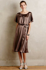 Nwt Anthropologie Delicate Ravie Flutter Sleeve Dress Sz 6P 6 P Brown