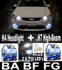 55W CRYSTAL WHITE Headlight Bulbs H4 + H7 Lights FALCON BA BF FG XR6 XR8