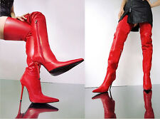 CQ COUTURE CUSTOM SEXY OVERKNEE BOOTS STIEFEL STIVALI SHOES LEATHER RED ROSSO 39