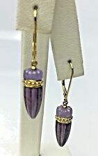 Carved Natural Lavender Jadeite Jade 14K Yellow Gold Dangle Earring
