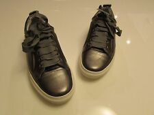 Lanvin Cap-Toe Metallic Olive Green Leather Low-Top Basketball Sneakers / 37