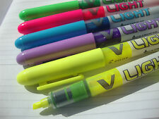 6 x PILOT V-LIGHT HIGHLIGHTER PENS FINE CHISEL TIP SW-VLL Assorted Colours