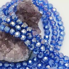 72 pcs 8mm Chinese Crystal Glass Loose Beads Round Faceted Blue Quartz with AB