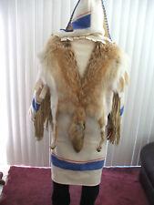 AMAZING CAPOTES HANDMADE COAT FROM COYOTE FUR & WOOL BLANKET FROM ENGLAND