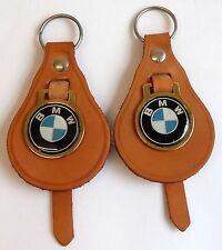 2 X BMW Vintage Tan Leather Key Rings 70s/80s