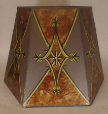 "10""x16""x11"" Decorated Antique Amber Hexagon Style Mica Floor, Table Lamp Shade"