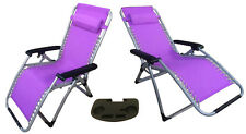 2 x ZERO GRAVITY PURPLE TEXTILENE DELUXE RECLINER CHAIRS + ONE CLIP ON TABLE
