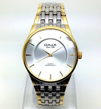 079P Men Luxury New Fashion Wrist Watch Silver & Gold Band Stylish Analog Dial