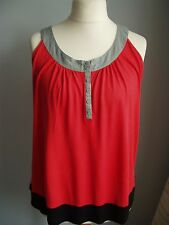 LADIES RED M & S SLEEVELESS TOP T-SHIRT SIZE 18    (REF 9488)